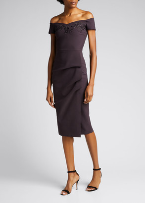Chiara Boni Off-Shoulder Shirred Sheath Dress