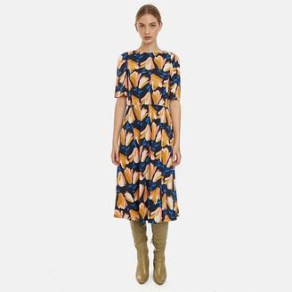 Compania Fantastica Midi Printed Dress with Short Sleeves