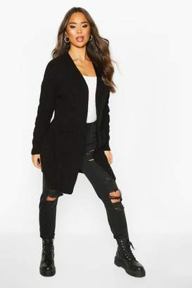 boohoo Cable Knit Oversized Boyfriend Cardigan