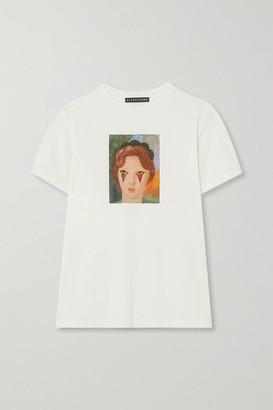 ALEXACHUNG Printed Cotton-jersey T-shirt - Ecru