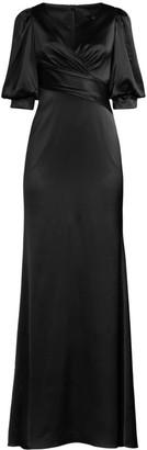Aidan Mattox Puff-Sleeve Satin Gown