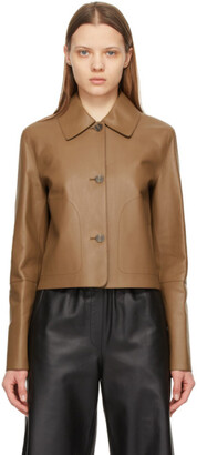 Loewe Brown Leather Button Jacket