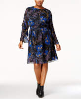 INC International Concepts Plus Size Printed Ruffle-Sleeve Dress, Created for Macy's