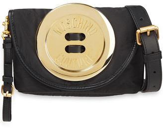 Moschino Button-embellished Leather And Shell Shoulder Bag