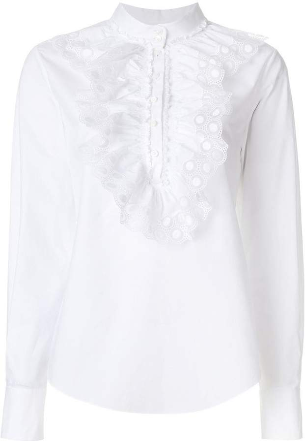Chloé ruched crochet blouse