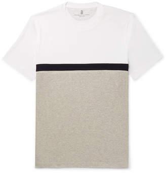 Brunello Cucinelli Slim-Fit Panelled Striped Cotton-Jersey T-Shirt