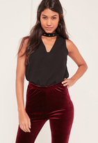 Missguided Black Buckle Choker Neck Bodysuit