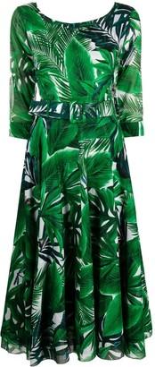 Samantha Sung Leaf Print Midi Dress