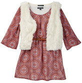 My Michelle mymichelle Peasant Dress & Faux Fur Vest Set (Big Girls)