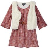 My Michelle mymichelle Peasant Dress & Faux Fur Vest Set (Big Girls)