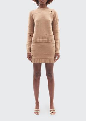 Helmut Lang Distressed Wool Crewneck Sweater