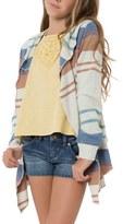 O'Neill Girl's 'Layla' Stripe Open Front Hooded Cardigan