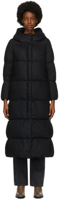 Herno Black Down Wool Long Coat