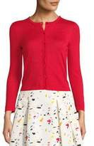Carolina Herrera Crewneck Long-Sleeve Button-Front Cardigan