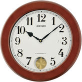 Seiko Brown Wall Clock With Pendulum And 18 Hi-Fi Melodies Qxm548blh