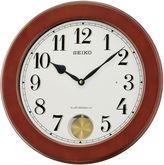 Seiko Brown Wall Clock With Pendulum And 18 Hi-Fi Melodies Qxm548blh