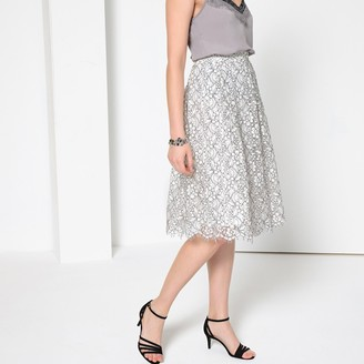 Anne Weyburn Flared Lace Midi Skirt