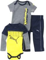 Puma Infant Time To Play 3-Piece Newborn Deep Navy Bodysuit & Pant Set Sz: 6-9M