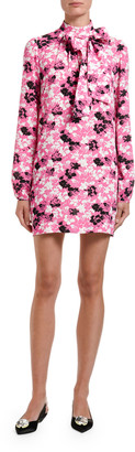 No.21 Printed Long-Sleeve Bow-Neck Mini Dress