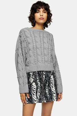 Topshop Womens Grey Knitted Super Crop Cable Jumper - Grey Marl