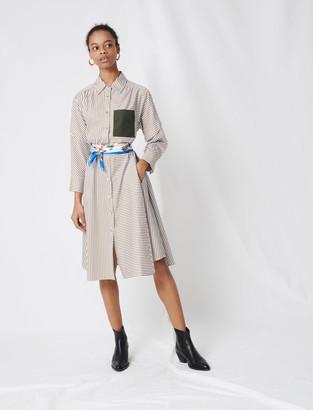 Maje Striped shirt dress, contrasting belt