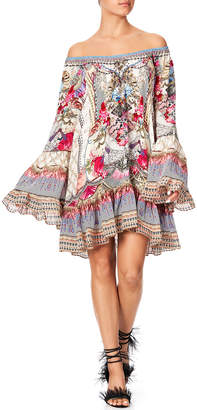 Camilla Off-Shoulder A-Line Printed Frill Dress