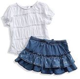 GUESS Adline Smocked Tee and Pineapple Chambray Skirt Set (12M-4T)