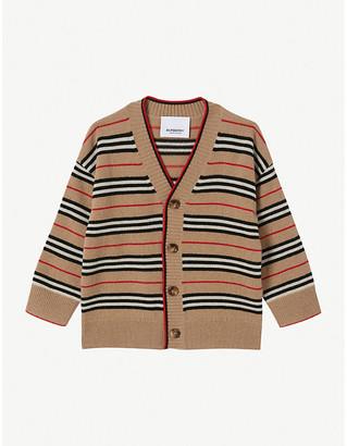 Burberry Tobias Icon-stripe cashmere cardigan 6-24 months