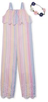 Forever Me Striped Faux Linen Jumpsuit With Flower Crown (Big Girls)