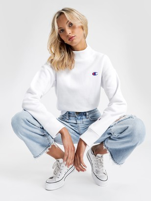Champion Reverse Weave Cropped Mock Neck Sweater in White