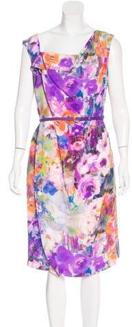 Escada Floral Print Silk Dress w/ Tags