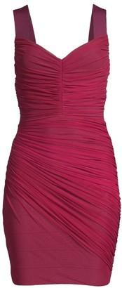 Herve Leger Shirred Sweetheart Cocktail Dress