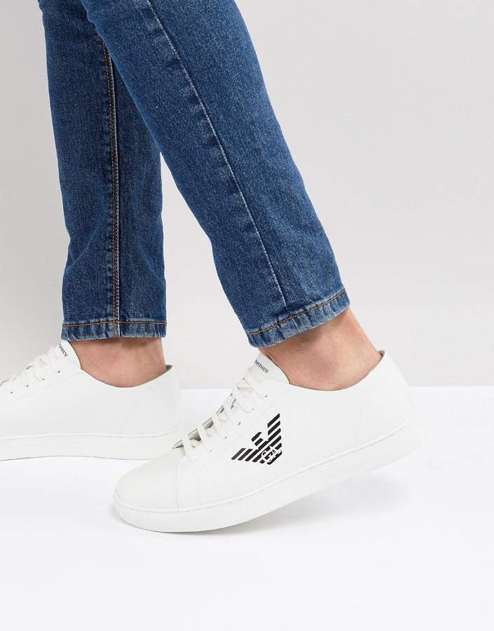 Emporio Armani Smooth Leather Smart Sneakers With Logo In White