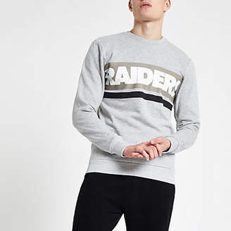 River Island Only and Sons grey NFL 'Raiders' sweatshirt