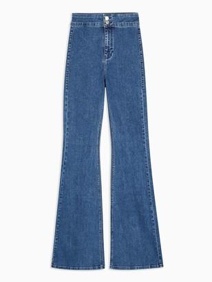 Topshop Flared Joni Jeans - Blue