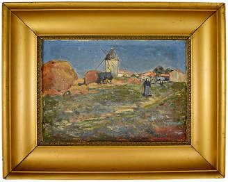 One Kings Lane Vintage French Marc Mongin Landscape Painting - multi/gold