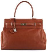 Hermes Gold Veau Sikkim Leather Palladium Kelly 50 cm Relax Tote Handbag EVHB