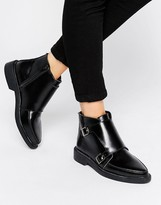 T.U.K. Jam Strap Leather Flat Ankle Boots