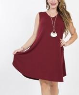 Lydiane Women's Casual Dresses DK.BURGUNDY - Dark Burgundy V-Neck Sleeveless Curved-Hem Pocket Dress - Women & Plus