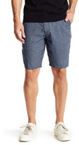 Toscano Checkered Print Linen Short