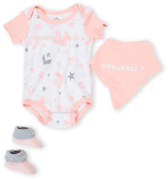 Converse Newborn Girls) 3-Piece Pink Bodysuit & Booties Set