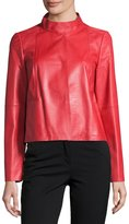 Lafayette 148 New York Crawford Leather Topper Jacket, Ruby