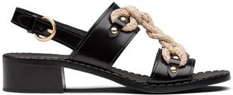 Prada Woven Cord Leather Sandals