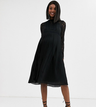 TFNC Maternity Bridesmaid high neck long sleeve pleated midi dress with lace inserts in black