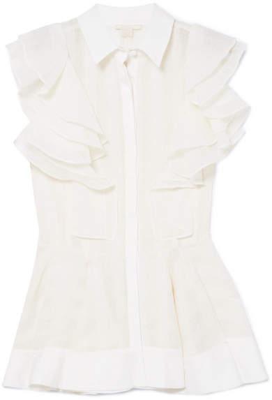 Antonio Berardi Ruffled Crepe Shirt - White