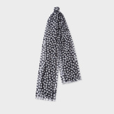 Paul Smith Women's Black 'Sea Aster' Floral Pattern Scarf