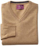 Charles Tyrwhitt Tan Cashmere V-Neck Sweater Size Large