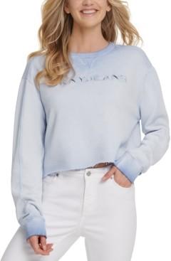 DKNY Cropped Logo-Print Cotton Top