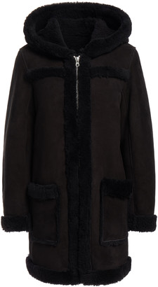 Sandro Shearling Hooded Coat