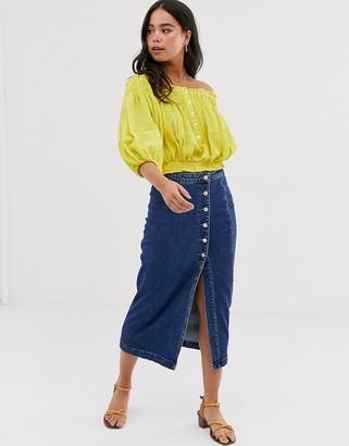 Free People jasmine buttoned midi skirt-Blue